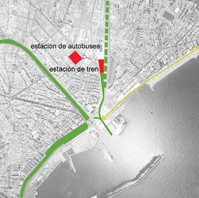 """el alquife se encuentra situado en la confluencia de dos ejes """"verdes"""" de la ciudad con la via de tren"""