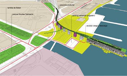 se propone que el alquife en si mismo se convierta en parte de esos ejes verdes introduciendo un parque en la parte superior y un jardin en la inferior
