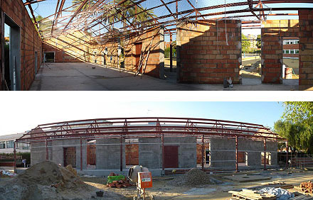 la estructura consta de pilares y cerchas metálicas para conseguir un espacio totalmente diafano