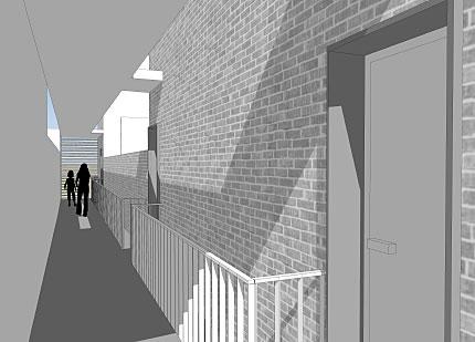 galeria interior de acceso a las viviendas