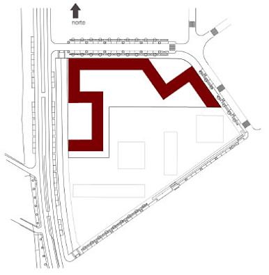 se plantea un edificio lineal de doble orientación en la que se mezcla la vivienda en volumen con otras tipologías