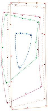 patrones de cortes de tela para formar las elipses