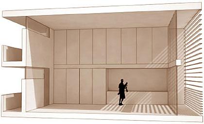 """se propone una """"vivienda en volumen"""", un espacio de 40 m2 utiles y 5 metros de altura con posibilidad de ser """"ampliado"""" interiormente con la construccion de entreplantas."""