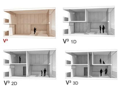 """*2007* La propuesta para el concurso de VPO en La FLorida intentaba *ampliar las posibilidades de modificación de la vivienda* por parte de los usuarios, permitiendo la ampliación. Se planteaba una """"vivienda en """"volumen"""""""":/vp-la-florida donde se definía una envolvente total inicial y se podía ampliar con construcción ligera interiormente."""