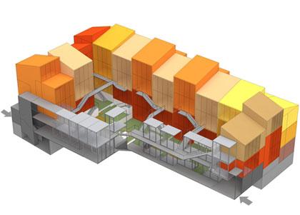 """*2008* Para el concurso de vPO J5 se mejoró la """"tipología de la vivienda ampliable en volumen"""":/j5-velezrubio y se desarrollaron más variaciones tipológicas y de agrupación. Las vivienda se agrupaban a modo de """"casas individuales"""" mediante zonas comunes abiertas y habitaciones exteriores de usos múltiples"""